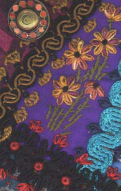 illustration of detached chain stitch used in crazy quilting