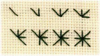 illustration of how to work Algerian eye stitch