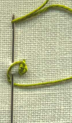 illustration of how to work rosette chain stitch