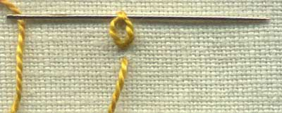 an illustration of step by step instructions of how to sew  heavy chain stitch