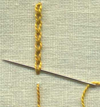 step by step instructions for Broad chain stitch