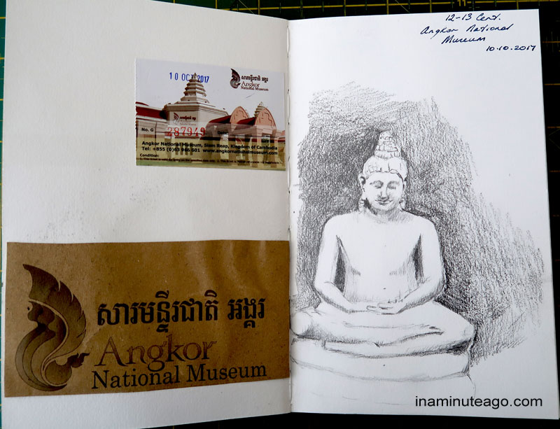 Sketch of a stature at the Angkor National museum