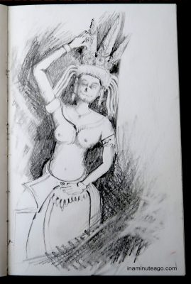 Sketch of a Angkor Wat carved stone wall decoration