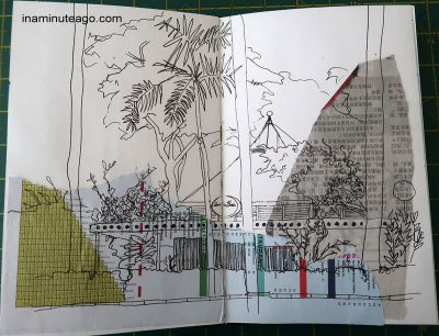 collage in a travel journal using local ephemera