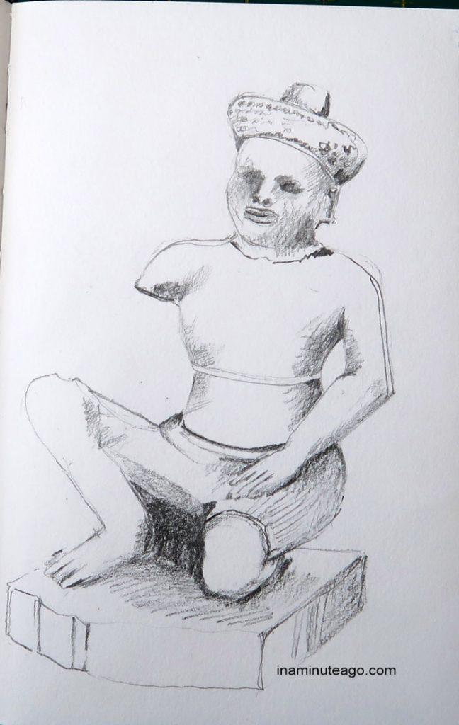 pencil sketch of Temple statue