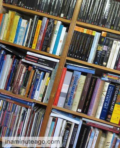 Reading and journal prompts books on shelves